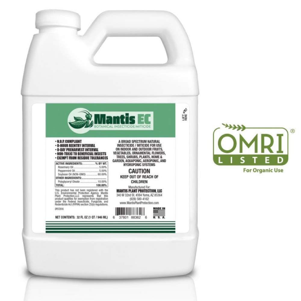 Mantis EC Organic Insecticide Miticide Concentrate - OMRI Listed, Makes 16-32 gallons, Indoor, Outdoor, Garden, Hydroponic, and Greenhouse Growers - 32 fl oz by Mantis Plant Protection