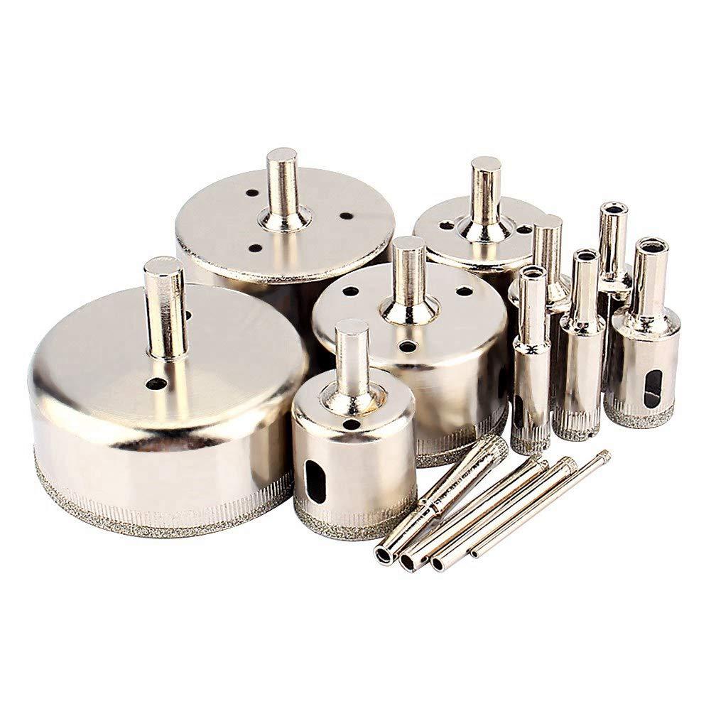 Diamantbeschichteter Hohlkernbohrer 3mm-70mm 14St Lochs/ägebohrer Werkzeuge Set f/ür Glasfliesen Keramik Marmor Porzellanschneiden Diamantbohrer