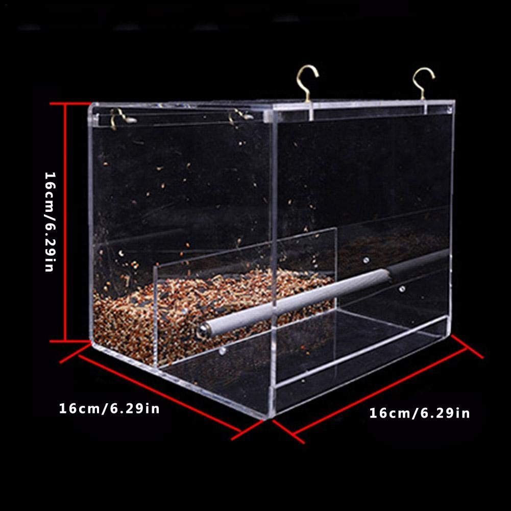 Hamiledyi No Mess Bird Seed/Feeder Parrot Feeder Cage Accessories Supplies with Perch/for Parakeet Canary Cockatiel Finch
