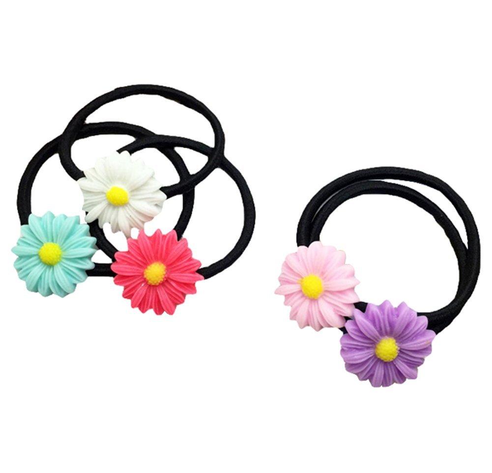 Cdet 10X Cuerda de pelo verano sol flor pelo ornamentos de pelo cuerda conjunto de diamantes anillo pequeño fresco japonés tocado pelo accesorio para el pelo