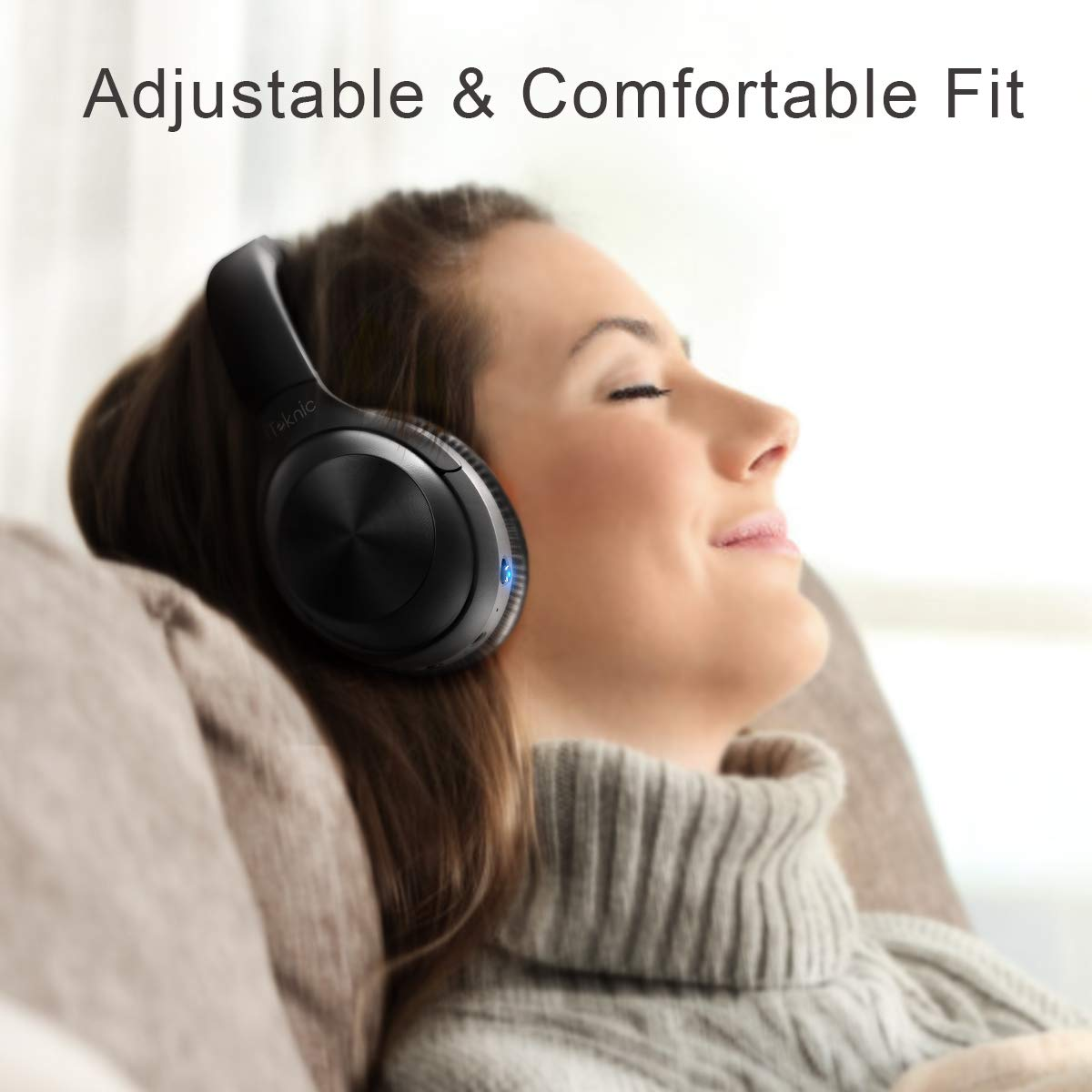 iTeknic Active Noise Cancelling Headphones,Over Ear Bluetooth Headphones Wireless Headset Bluetooth 5.0 Hi-Fi Sound Deep Bass,Quick Charge,15-20 Hours Playtime with Superior Noise-Cancelling Mic