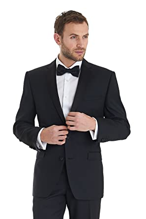 62c282692 French Connection Tailored Fit Satin Notch Lapel Black Dinner/Tuxedo ...