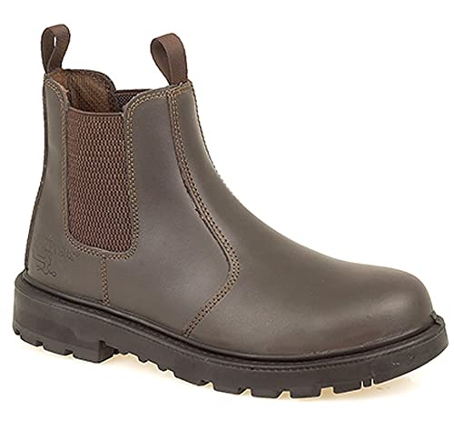 Mens Grafters Brown Leather Lightweight Safety Toe Cap Dealer Work Boots  Sizes 8 9 10 11 72c2bad79ca