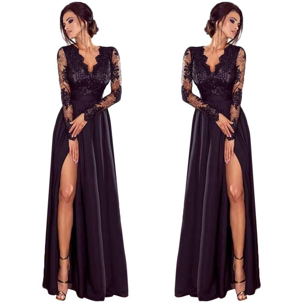 Danhjin Women Sexy Deep V-Neck Plain Lace Evening Party Ball Prom Wedding Long Dress Princess Maxi Dresses (Black, S)