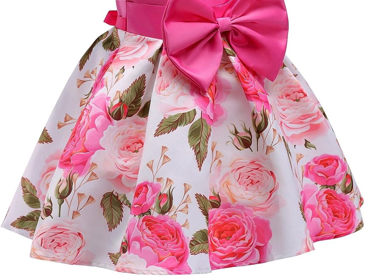 AnKoee Vestito Floreale Bambino Ragazza Bowknot Festa Damigella Pageant Compleanno Bambine Ragazze Principessa Nozze Gonna
