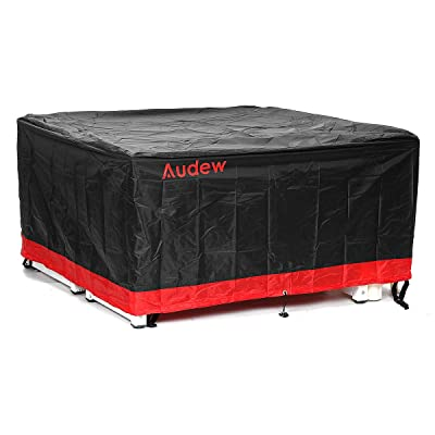 "Audew Patio Furniture Covers Square Extra Large Patio Table Cover Oxford Polyester Outdoor Furniture Covers Waterproof Fits for 4-6 Seats Blcak Red 56.5""x56.5""x28.5"": Kitchen & Dining"