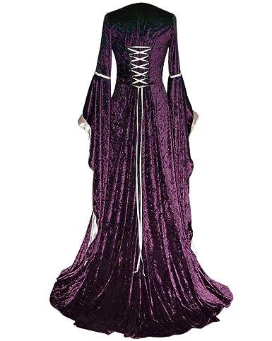 Vestido De Traje Cuello Cuadrado Medieval Renacentista para Mujer Largo Vendaje Estilo Victoriano Gotico Falda De Palacio