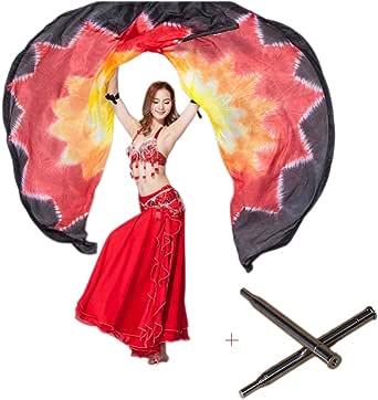 Nimiman 100% Silk Belly Dance ISIS Wings Scarf Veil Fan & Telescopic Stick
