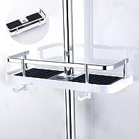 Royaliya Duschstangen Ablage Badezimmer Duschregal Ohne Bohren Verstellbar für Shampoo Conditioner Seife, Badezimmer Dusche Rack Bad Aufbewahrung Halter, Schwarz und Weiß