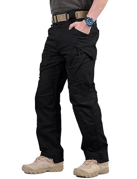 59e2fe6bd7 TACVASEN Mens Military Ripstop Cargo Operator Tactical Pants with Elastic  Waistband Black,30