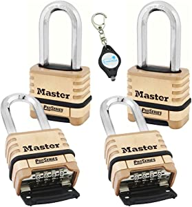 Master Lock 1175DLH 2-1/4in (57mm) Wide ProSeries Brass Resettable Combination Padlock, 4 Pack Bundle W/Lumintrail Key Chain Light