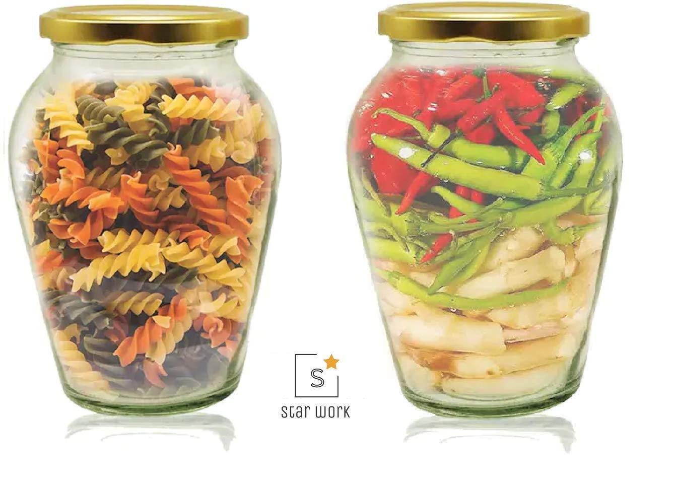 Amazon price history for 1000 ML Big Pot Glass Jar for Pickle Storage Dried Masla,Grocery,Grain Storage Jar (2)