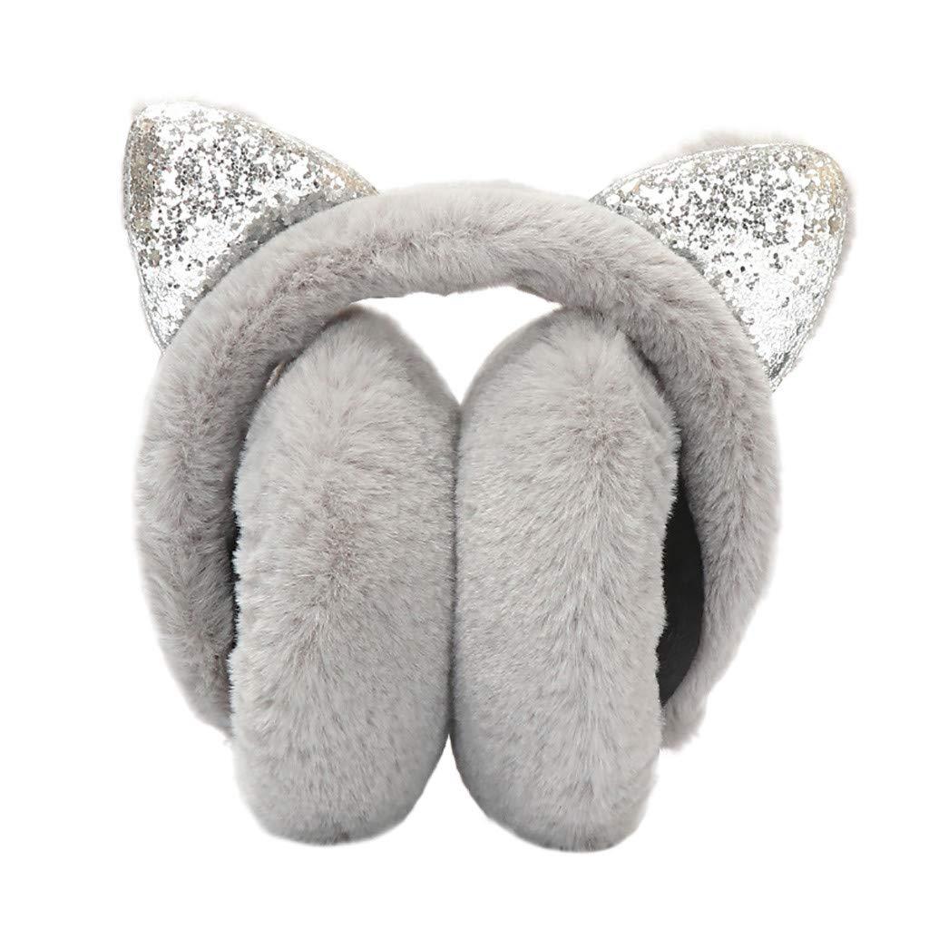 Women Girl Winter Earmuffs Sequins Cat Ears Design Windproof Warm Adjustable Fleece Earmuffs Gray