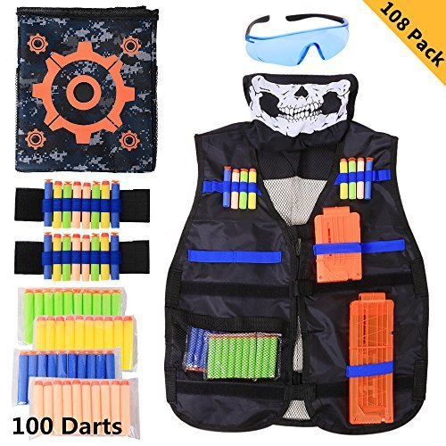 Tactical Vest Kit 108 Piece for Nerf Guns N-Strike Elite Series Blaster, Letsfunny 100 Refill Darts,Target Bag,Quick Reload Clips,Hand Wrist Band,Protective Glass,Tactical Mask