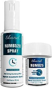 Ebanel Bundle of Lidocaine Numbing Spray, and Topical Numbing Cream 1 Oz