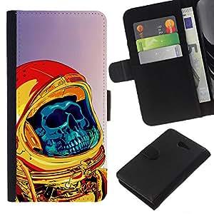 NEECELL GIFT forCITY // Billetera de cuero Caso Cubierta de protección Carcasa / Leather Wallet Case for Sony Xperia M2 // Neon Punk Skull Astronauta Cosmonauta