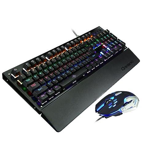 L&Y Teclados para Gamers Juego Teclado USB Office Waterproof 104KEY Teclado Mouse Set Teclados para Gamers