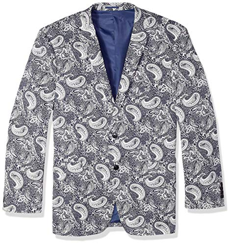 (U.S. Polo Assn. Men's Big and Tall Stretch Cotton Sport Coat, Navy/White Paisley 52 Regular)