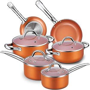 Nonstick Cookware Set, CUSINAID 10-Piece Aluminum Cookware Sets