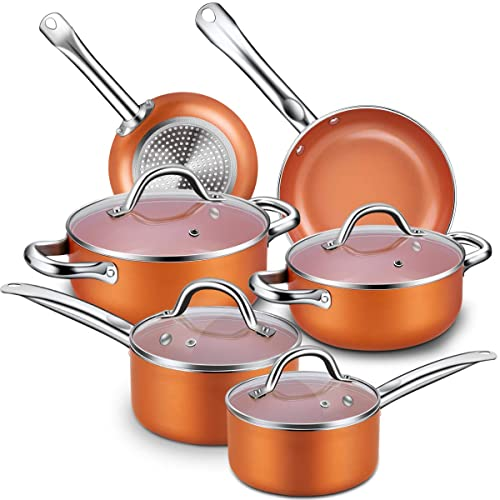 Nonstick Cookware Set, CUSINAID 10 Piece Aluminum Cookware Sets Pots And  Pans Set,
