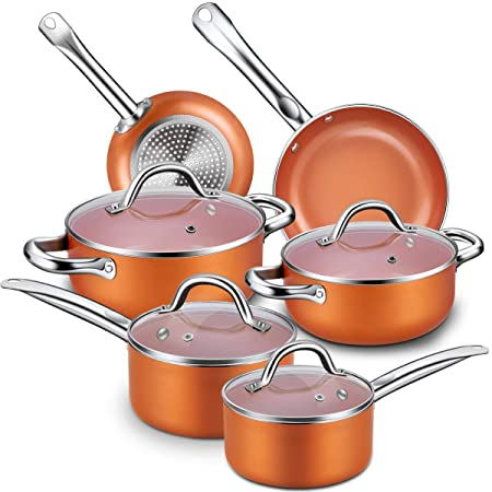 Nonstick Cookware Set, CUSINAID 10-Piece Aluminum Cookware Sets Pots and Pans Set, Fry Pan, Sauce Pan, Stock Pot with Glass Lids for Stovetops Induction Cooktops, Dishwasher Oven Safe Copper