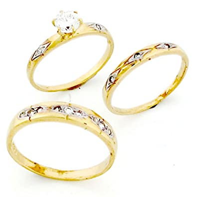 10k gold his hers trio 3 piece cz wedding ring sets - 3 Piece Wedding Ring Sets