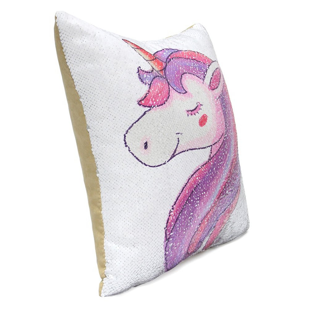 Song Qing Unicorn Cushion Cover Reversible Mermaid Sequins Throw Pillow Case Home Decor