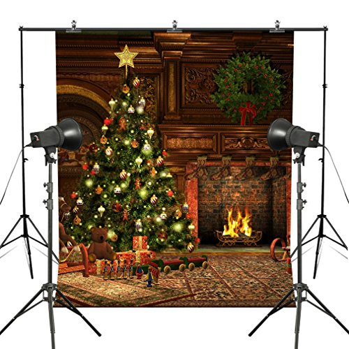 MUEEU 8x8ft Christmas Theme Fireplace Photography Backdrops Christmas Tree Decoration Festival Photo Backgrounds for Studio Props-Green Red Yellow -