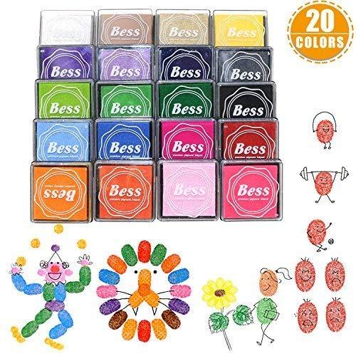 Buluri Craft Ink Pad Stamps, Ink Pad Stamps, Stamp Pad, 20 Colors Washable Fingerprint Ink Pad for Kids Stamps Card Making, DIY Scrapbooking, Bullet Journal