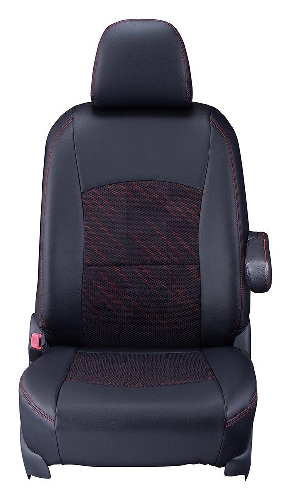 クラッツィオ シートカバー N-WGN Clazzio クール ブラック×レッドスタイル EH-2021 B01HT9ZIBU  ブラック×レッドスタイル