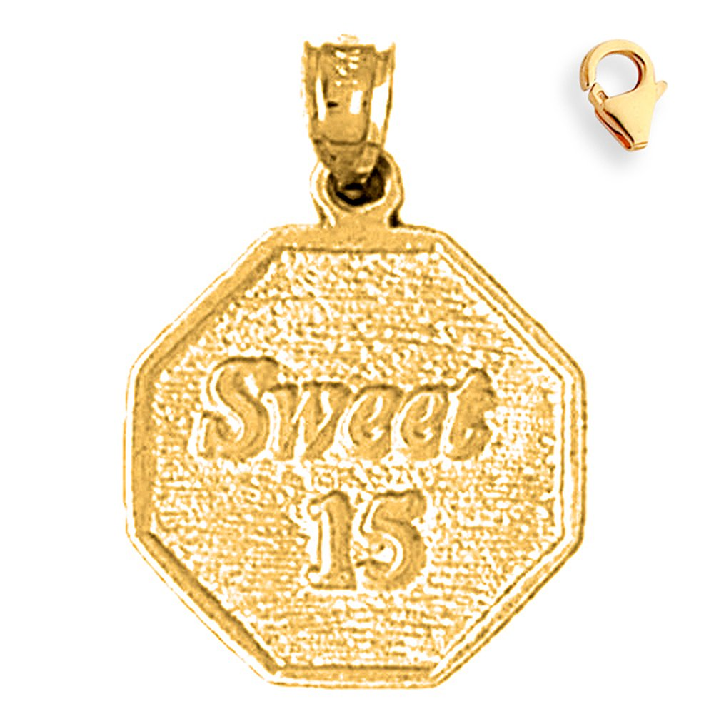 Silver Yellow Plated Sweet 15 Charm 26mm