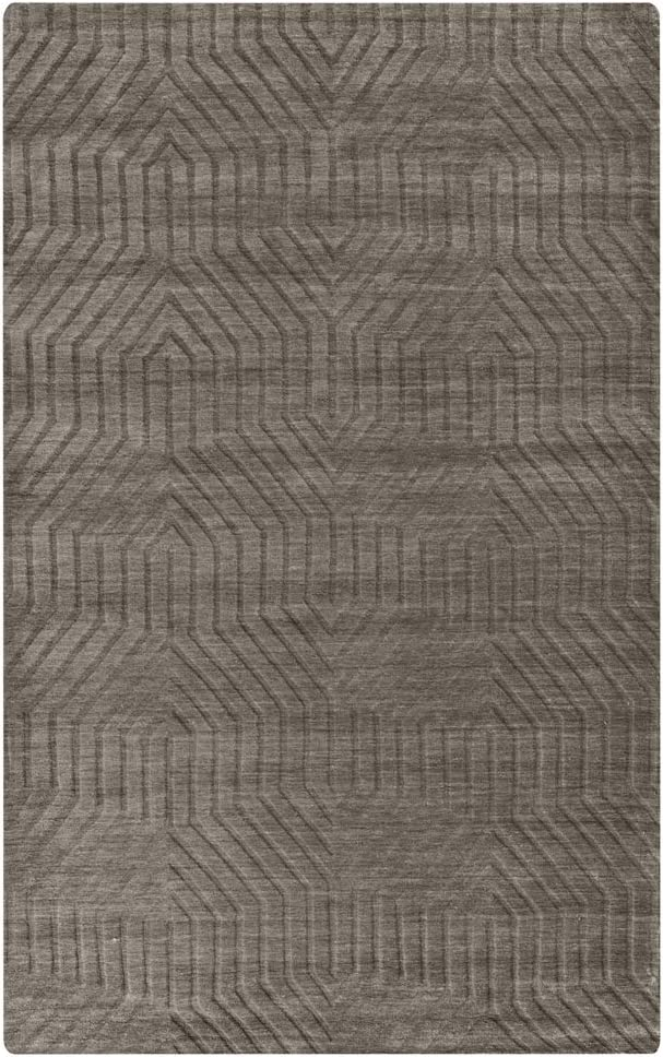 Rizzy Home Technique Collection Wool Area Rug, 3' x 5', Dark Taupe Solid