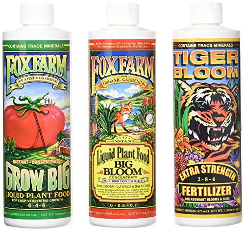 FoxFarm GLCMBX0006 Liquid Nutrient Soil Trio-Pints, Grow Big, Tiger Bloom, 16 Fl Oz Combo Pack Fertilizer