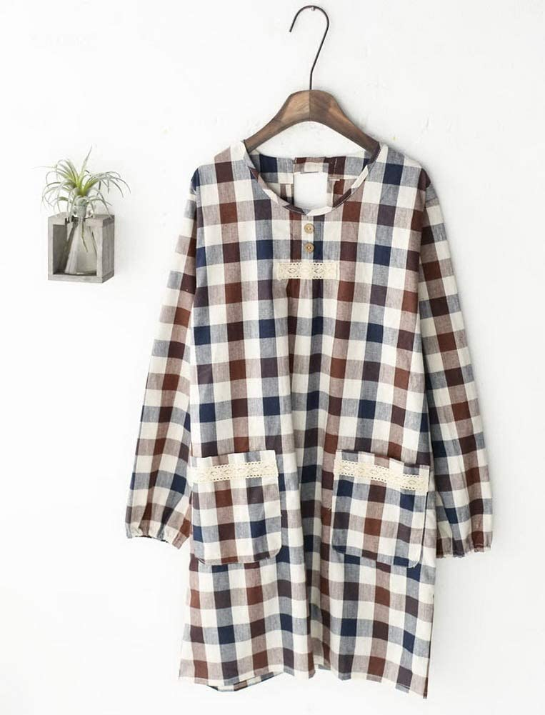 Brown Japanese-Style Cotton Long-Sleeve Plaid Apron Kitchen Home Anti-Oil Smock