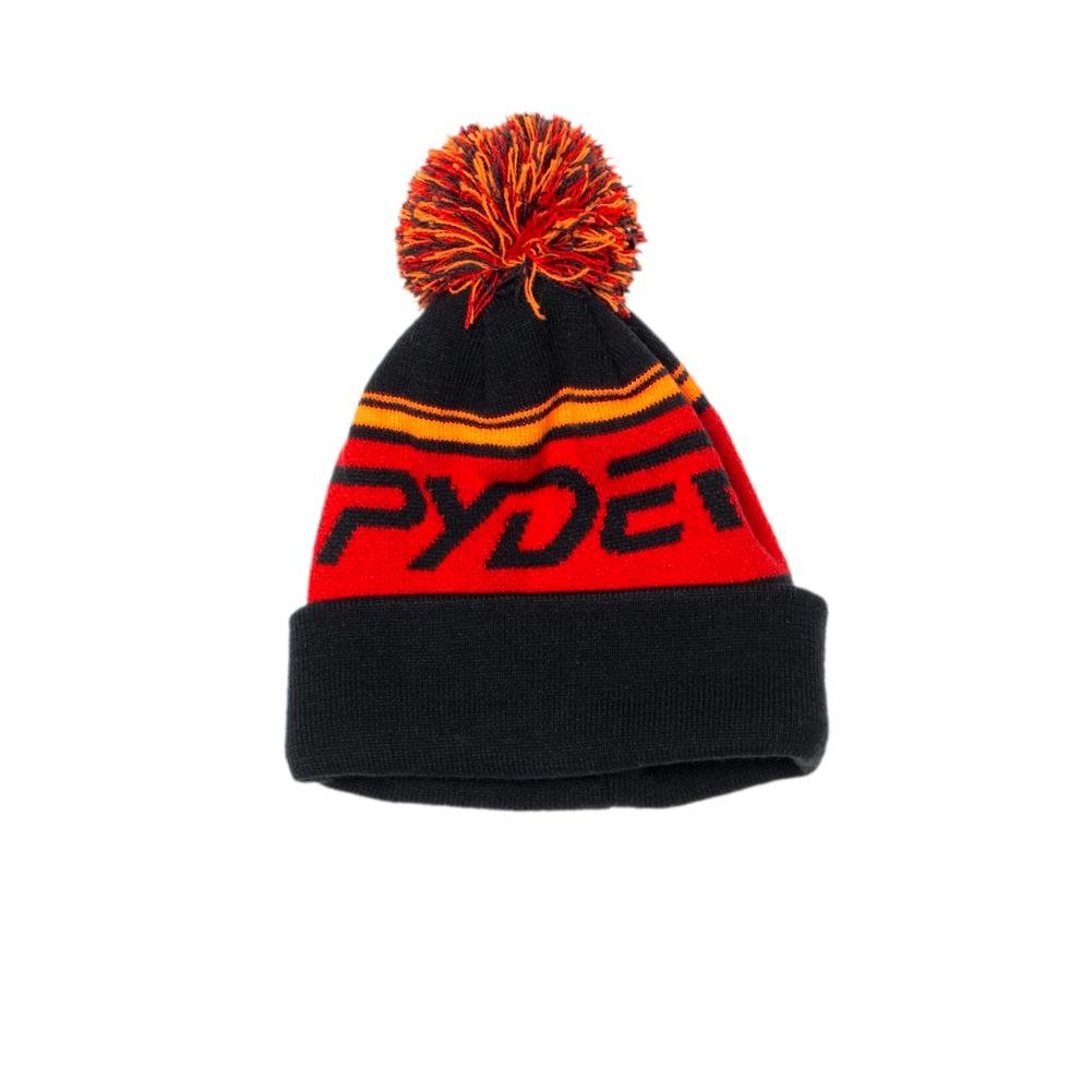 Spyder Boys Icebox Hat, One Size, Black/Volcano/Bryte Orange