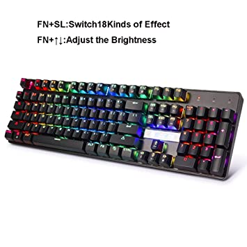 OFNMD Mechanical Gaming Keyboard, Blue Switch Teclas Multimedia RGB Backlight Ergonomic Metal Wired Teclado USB para PC Ordenador portátil Mac (Teclado ...
