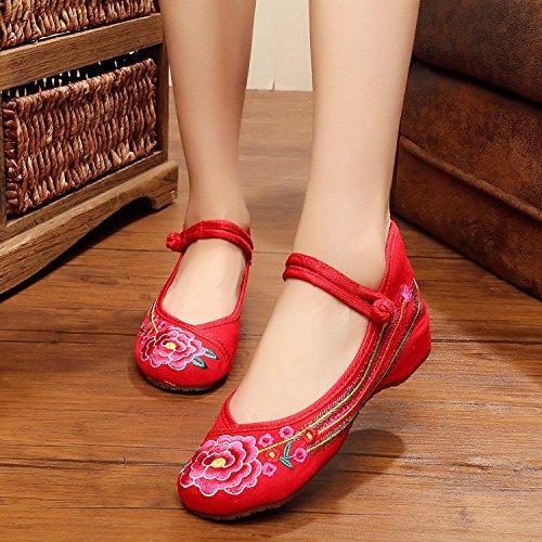 ZLL Gestickte Schuhe, Sehnensohle, ethnischer Stil, weibliche Tuchschuhe, Mode, bequem, Tanzschuhe , red , 35