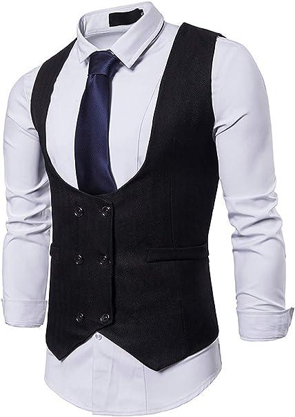 Amazon.com: DGMJDFKDRFU Chaleco de cuello para hombre, traje ...