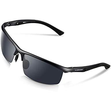 2fa2c92490e WOOLIKE Men s Sports Style Polarized Sunglasses For Cycling Running Fishing  Driving Golf Unbreakable Al-Mg