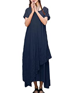 ZANZEA Womens Vintage Round Neck Two-layer Short Sleeve Cotton Linen Maxi Dress