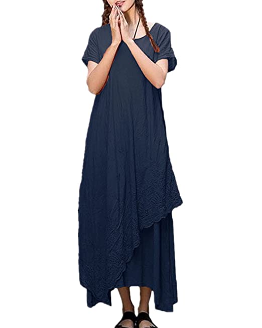 9357708703 Women s Solid Two Layers Short Sleeve Irregular Casual Loose Long Maxi Dress  Navy CA 18
