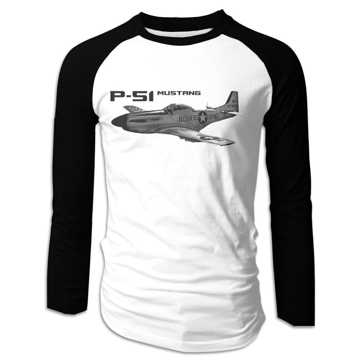 Wumayouly Men's P-51 Mustang Fashion Running Long Sleeve Raglan Shirt Black