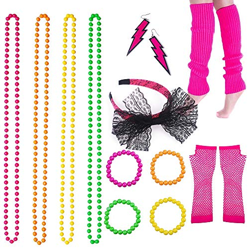BRT 80s Fancy Dress Accessories Neon Necklace Bracelet Earrings Fishnet Gloves Leg Warmers Headband -