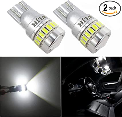 2x Bright xenon White T10 168 2825 12-SMD LED Under Mirror Puddle Lights