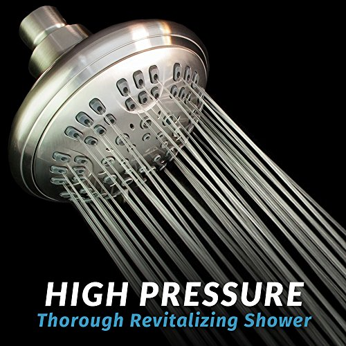 ShowerMaxx | Luxury Fixed Shower Head in Brushed Nickel Finish | Self Cleaning Nozzle Heads with 6-Settings Control | High Pressure Powerful Jets with Massage Spray | Wall Mount Adjustable Showerhead by ShowerMaxx (Image #4)