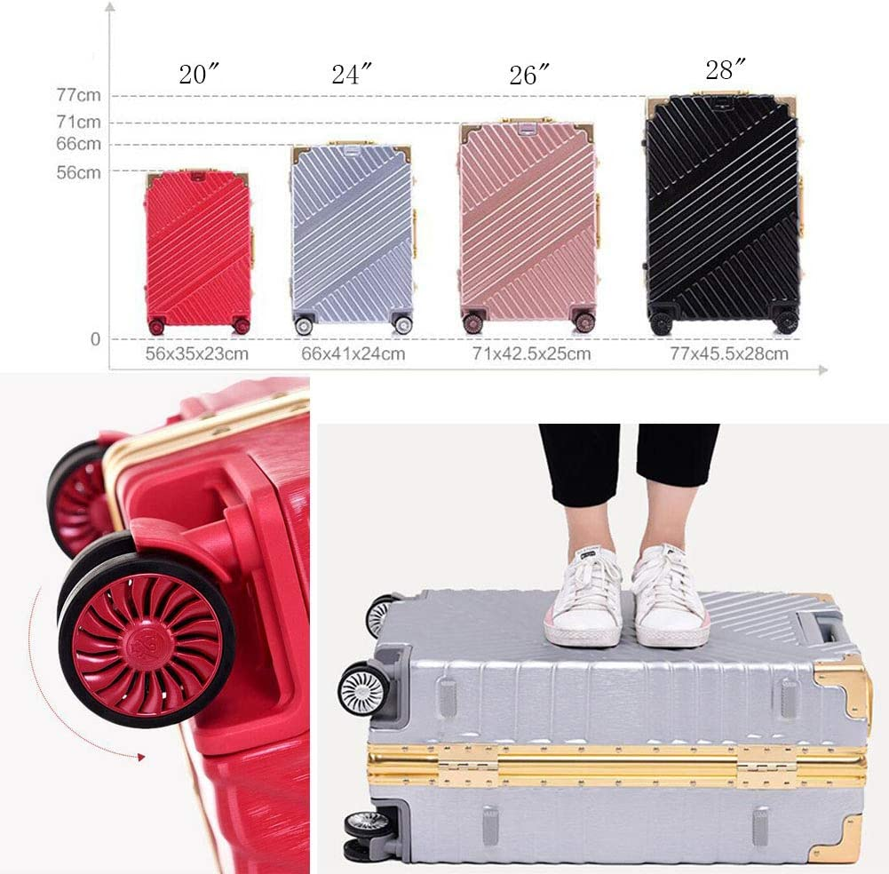XIAOHAOHAO Trolley Case-Silent Universal Wheel-Anti-Theft-ABS Material Suitcase-Wearable Waterproof and Shockproof Suitcas,Silver,24in