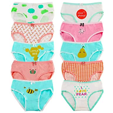 931167bc0b Anntry Kids 10 Pack Briefs Soft Comfortable Knickers Underwear Little Girls  Assorted Panties 2-10 Yrs (Color-2