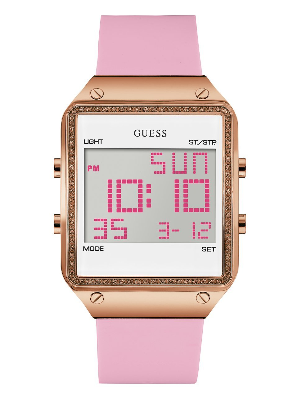 GUESS Women's U0700L2 Digital Pink Silicone Watch with Alarm, Dual Time Zone and Chronograph Functions by GUESS