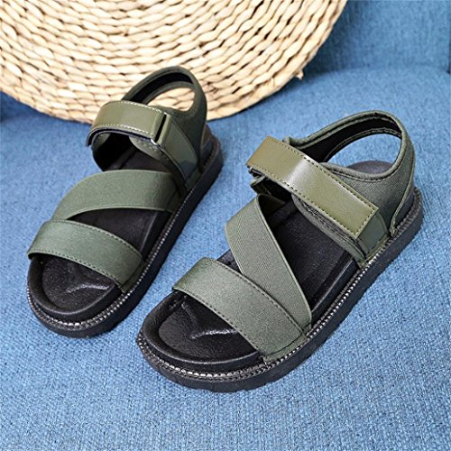 Flat Fashion Wrap Wedge Sandals Green Shoes Summer Slipper Comfortable Ankle Womens Inkach Casual wqAE0IWv