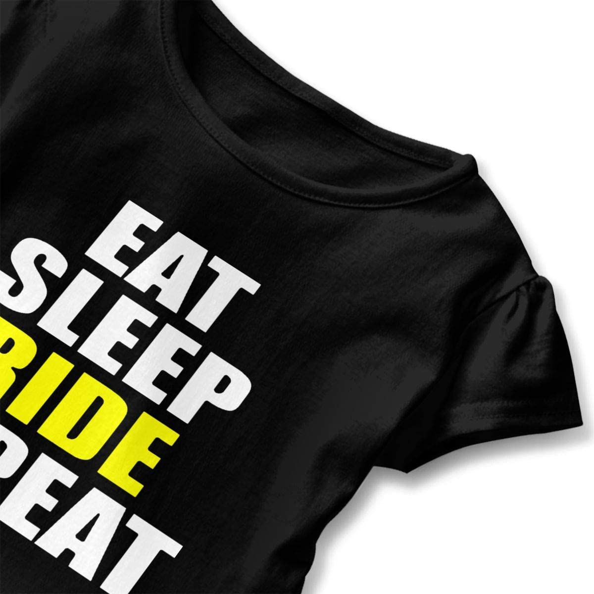 Eat Sleep Ride Repeat Shirt Baby Girls Ruffles Casual Summer Clothes for 2-6 Years Old Baby